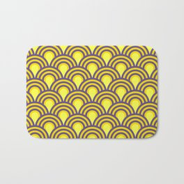 retro sixties inspired fan pattern in yellow and violet Bath Mat