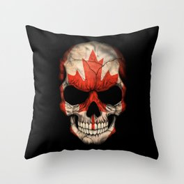 Dark Skull with Flag of Canada Throw Pillow