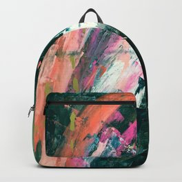 Meditate [1]: a vibrant, colorful abstract piece in bright green, teal, pink, orange, and white Backpack