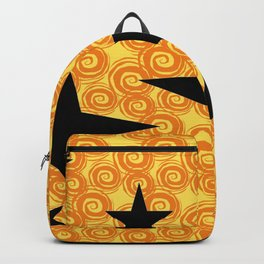 balck star and orange spiral Backpack