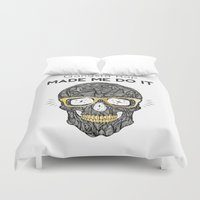 rap Duvet Covers featuring Gangsta Rap Made Me Do It Skull by MY  HOME