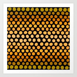 Honey Gold and Amber Ombre Dots Art Print