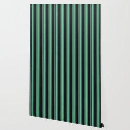 Simple green, black striped pattern. Wallpaper