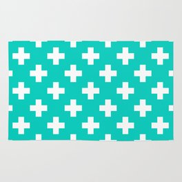 Aqua Blue Plus Sign Pattern Rug