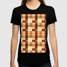 Plaid White Stitch Yellow And Brown Lumberjack Flannel T-shirt