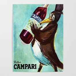 Ultra Rare Vintage Bitter Campari 'Penguin' Lithograph Advertisement Poster Poster