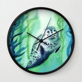 Seal in the Kelp Wall Clock
