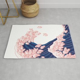 Pink Pigs Waves in White Rug