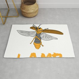 """Perfect Gift For Insects Fans Saying """"I Love Lamp"""" T-shirt Design Firefly Bee Stripe Black Yellow  Rug"""
