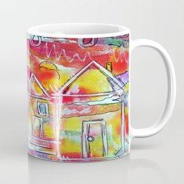 Orange Neon Houses Coffee Mug