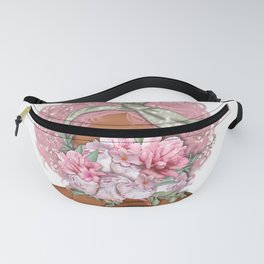 Pink Hared Woman |Dark Skin Woman Png |Floral Art Fanny Pack