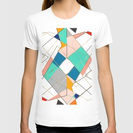 Modern Colorful Abstract Gold Geometric Strokes T-shirt
