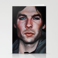the vampire diaries Stationery Cards featuring Ian Somerhalder (Damon from Vampire Diaries) by Britanee LeeAnn Sickles