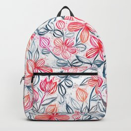 Coral and Grey Candy Striped Crayon Floral Backpack