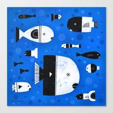 BLACK & WHITE FISHES Canvas Print
