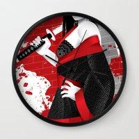 sin city Wall Clocks featuring Sin City-Miho by Szoki