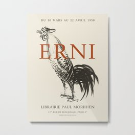Hans Erni. Exhibition poster for Librairie Paul Morihien in Paris, 1950. Metal Print