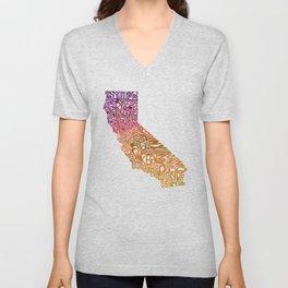 Typographic California - Autumn Unisex V-Neck