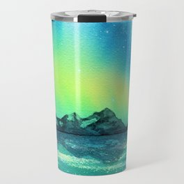 """Northern Lights"" watercolor landscape painting Travel Mug"