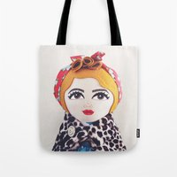 rockabilly Tote Bags featuring Rockabilly Girl by A Little Vintage