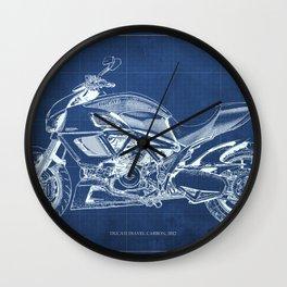Diavel Carbon Blueprint Wall Clock