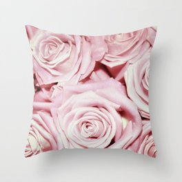 Beautiful bed of pink roses- Floral Rose Flowers Throw Pillow