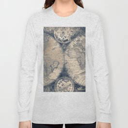 Antique World Map White Gold Navy Blue by Nature Magick Long Sleeve T-shirt