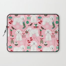 Bichon Frise pink christmas holiday themed pattern print pet friendly dog breed gifts Laptop Sleeve