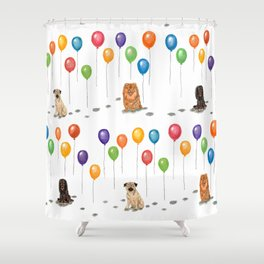 Pug with balloons Shower Curtain