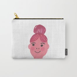 """""""Kiki"""" cute girl with bun and rosy cheeks Carry-All Pouch"""