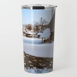 Traditional handcrafted gate and a rural Romanian homestead covered in snow Travel Mug