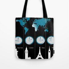TIME ZONES. NEW YORK, LONDON, PARIS, TOKYO Tote Bag