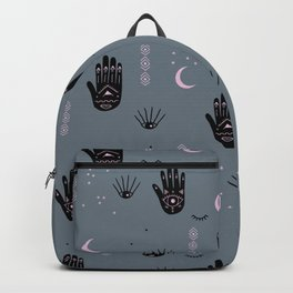 Trust the universe magic hand third eye moon and stars blue Backpack