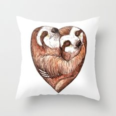 sloth love Throw Pillow