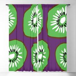 Bright Purple and Green Kiwifruit Pattern Blackout Curtain