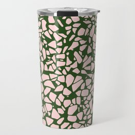 Stone Pattern - Salmon Pink & Olive Green Travel Mug