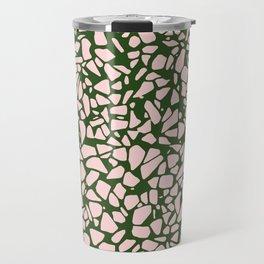 Stone Pattern - Salmon Pink & Olive Green Travel Mug