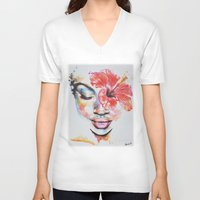 hibiscus V-neck T-shirts featuring Hibiscus by Maria Lozano - Art