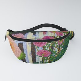 White Picket Fence with Dahlias Fanny Pack