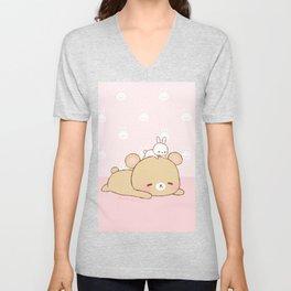 bear and bunny Unisex V-Neck