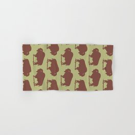 Buffalo Bison Pattern Brown and Chartreuse Hand & Bath Towel