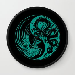 Teal Blue and Black Dragon Phoenix Yin Yang Wall Clock