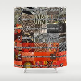 Black Red & Grey Abstract Art Collage Shower Curtain