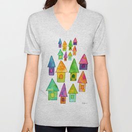 Home Sweet Home house illustration family parents housewarming gift grandparents Unisex V-Neck