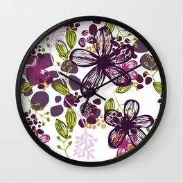 Floral (plum) Wall Clock