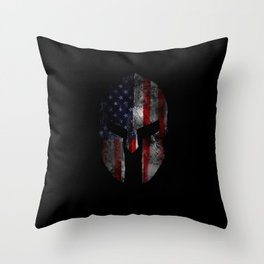 American Flag Spartan Helmet with Grunge Distress USA United States Throw Pillow