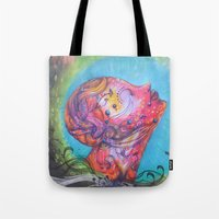 grafitti Tote Bags featuring Grafitti Face by Whitney Woodrick