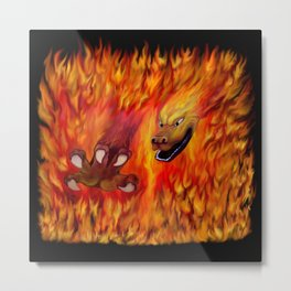 Red Dragon Claw in flames Metal Print