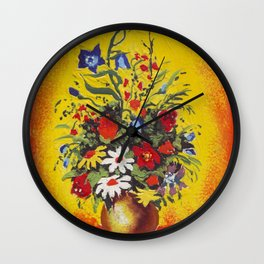 Flowers in the fire Wall Clock
