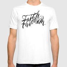 Faith & Freedom II MEDIUM White Mens Fitted Tee
